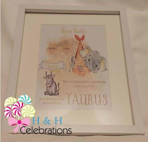 Taurus New Baby Star Sign Print